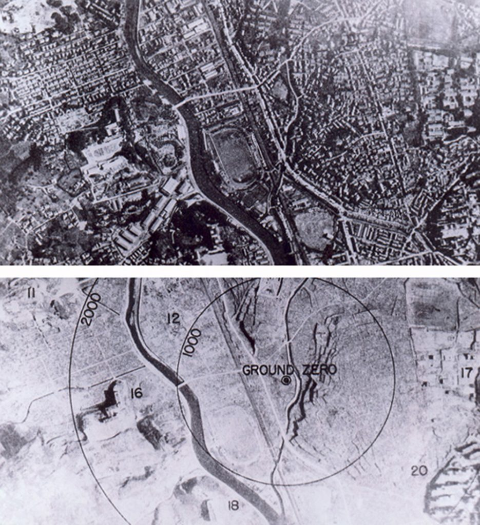 Before and after shots of Nagasaki at the epicentre of the atom bomb in 1945