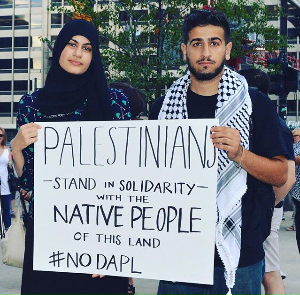 Palestinians stand with standing rock (Photo: FOSNA Solidarity Statement)