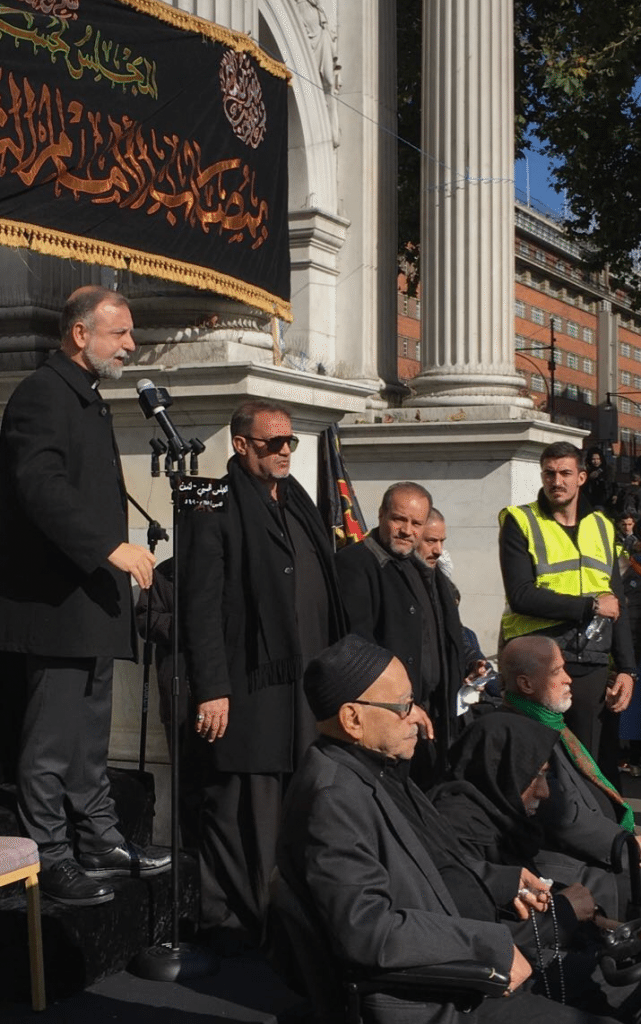 Reverend Nadim Nassar opening the procession with a speech at Marble Arch
