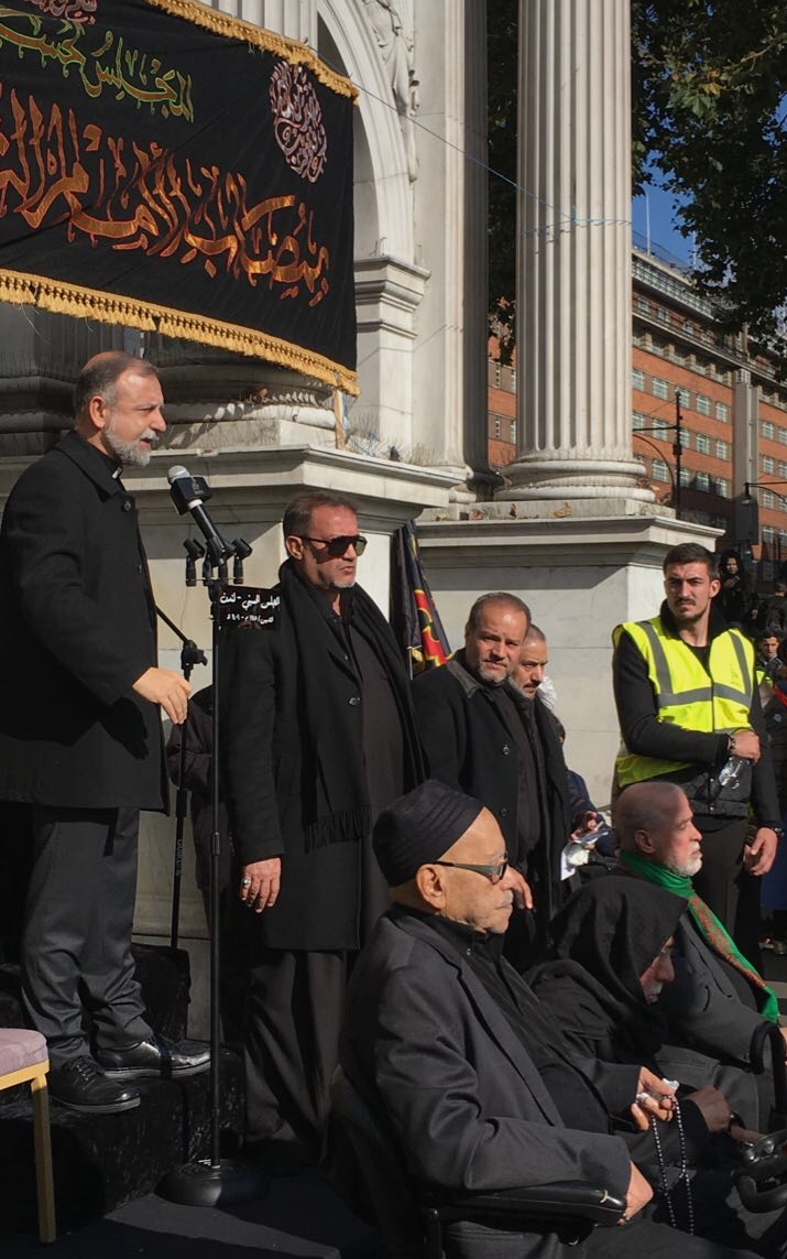 Reverend Nadim Nassar opening the procession with a speech at Marble Arch.