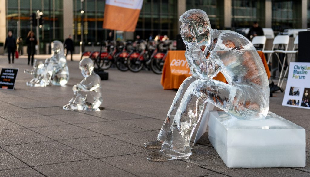 Why Were There Ice Sculptures of Homeless People in London's Financial District Yesterday?
